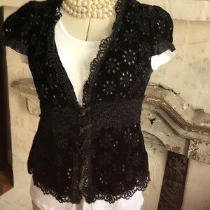 Nanette Lepore Velvet Crochet Jacket